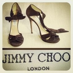 Jimmy Choo 850.00 mocha brown suede sky high ankle-tie platform sandals sz. 10.5/11; RR Price: 265.00  http://resaleriches.mybisi.com/product/jchoosuedesandals