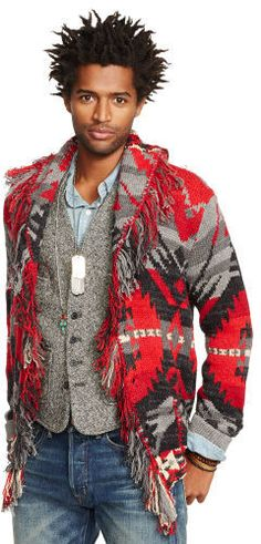 Ralph Lauren Denim & Supply Fringed Shawl-Collar Cardigan, Knit from a cotton-and-linen blend, this distinctive, chunky cardigan features a colorful Southwestern-inspired pattern and fringe at the placket.