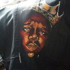 Biggie Smalls / Notorious B.I.G Handpainted leather look gilet, one of a kind, check out Relovely.design on Etsy