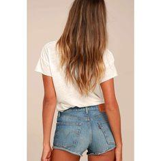 Levi's 501 Medium Wash Denim Cutoff Shorts ($70) ❤ liked on Polyvore featuring shorts, blue, mid rise denim shorts, mid rise shorts, cut-off shorts, denim cut offs and blue shorts