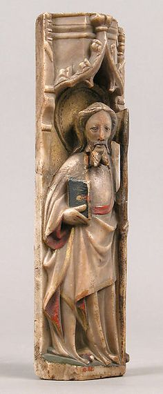 Relief of Standing Saint under Oggi Arch. Date: ca. 1450 Geography: Made in Nottingham, England Culture: British Medium: Alabaster with paint and gilding