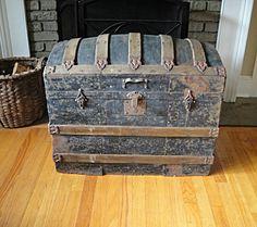 1890's Barrel Top Steamer Trunk Industrial Salvage Antique Trunk Treasure Chest • $195.00