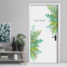 Fresh Green Leaf Vinyl Wall Stickers for Bedrooms - Easy Removable Peel and Stick Wall Decals - Modern Self-Adhesive Plant Wall Art Decor Removable Wall Stickers, Flower Wall Stickers, Wall Stickers Home Decor, Vinyl Wall Stickers, Wall Art Decor, Customized Stickers, Vinyl Art, Modern Wall Stickers, Window Stickers