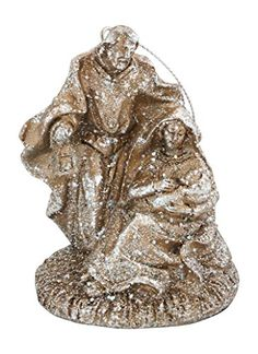 Holy Family Glittered Champagne Gold Christmas Nativity Ornament,