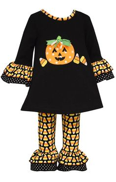Pumpkins and ruffles make up this adorable Fall toddler outfit perfect for halloween!