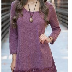 Coming soon! Berry colored tunic! Lace bottom M Size medium! The latest in tunic trends! Super comfy crew neck, loose design with crocheted lace bottom. Color is Berry or a maroon. Limited stock  available. ❌PRICE IS FIRM Tops Tunics