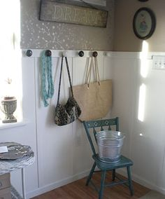 entry way with door knobs. Looking for something like this to do with our grandparents old knobs.