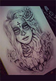 Resultado de imagen para dibujos de mujeres del dia de los muertos a lapiz