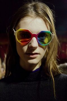 Rainbow shades at Marco de Vincenzo AW15 MFW. See more here: http://www.dazeddigital.com/fashion/article/23877/1/marco-de-vincenzo-aw15