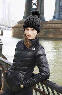 North Face beanie pom pom $25 and lightweight down jacket in black