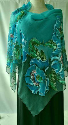 Shawl.Natural silk shawl floralpoppies caribbean hand