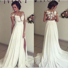 Chiffon Prom dress 2017,slip on the skirt,sexy beach wedding dress