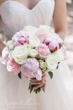Soft and romantic bridal bouquet of peonies and roses by Love In Bloom Florist Key West. Photo by Megan Ellis Photography