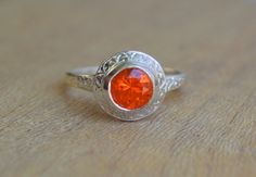 Engraved Halo Ring with Mexican Fire Opal in Argentium Silver