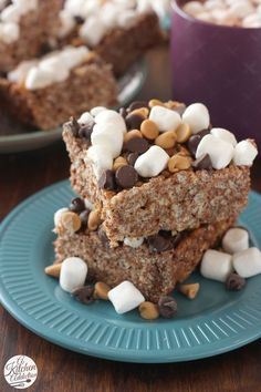 Peanut Butter Hot Chocolate Rice Crispy Treats from @akitchenaddict