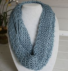 Hand knitted infinity scarf.  Lacy and airy in a by TrinksKnitting