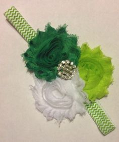st patrick's hair bow | St Patrick's Day Chevron Green White Shabby Flower Baby Girl Hair Bow ...