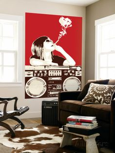 Boombox Joint - Red Mural por Steez na AllPosters.com.br