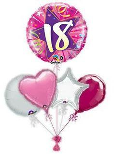 18th Shocking Pink Balloon King Birthday Balloons