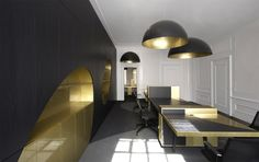 All Capital Office space by Eckhardt en Leeuwenstein.  Love the gold and black scheme http://www.eckhardtenleeuwenstein.nl/