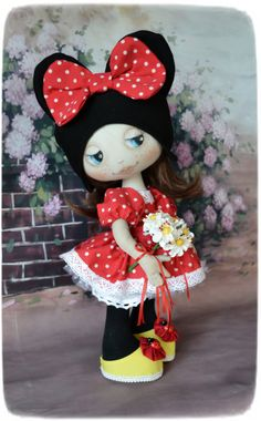 I'm Minnie Mouse! 42 cm, polka dot, textil doll by Elenadolls on Etsy