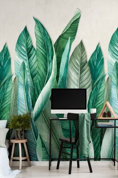 This is no design for the meek and shy - no room for understatement here! The impressive floral motif wallpaper with an easy-clean, robust vinyl surface lives up to its name. Oversized banana leaves introduce a tropical rainforest into your home. Vinyl Wallpaper, Wallpaper Samples, Pattern Wallpaper, Tropical Wallpaper, Flower Wallpaper, Beautiful Flowers Wallpapers, Green Pattern, Wall Treatments, Floral Motif