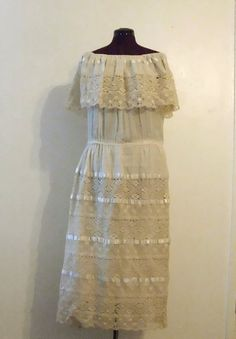 Vintage Ivory Hand Tatted Lace Dress Primitive Rustic by KheGreen, $465.00