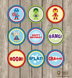Super Hero Avengers Inspired Birthday Party Circles for Cupcake Toppers, Digital DIY Personalized Captain America, Thor, Iron Man, Hulk. $7.99, via Etsy.