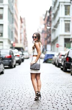 cream crop top and skirt
