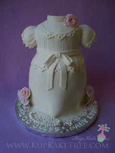 3D Handsculpted Baptism Cake shaped like a Christening Gown | by KupKake Tree