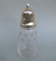 DELIGHTFUL SILVER MOUNTED GLASS SUGAR CASTER BY MARTIN HALL