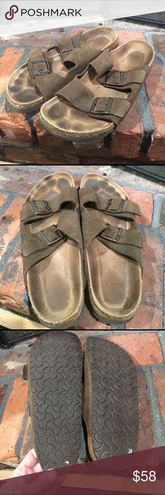 Birkenstock men's sandals size 44 Birkenstock men's sandals size 44.  Men's leather upper adjustable strap sandals.  Some wear as shown in pics. Birkenstock Shoes Sandals & Flip-Flops