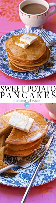 Get this delicious recipe for Sweet Potato Pancakes on MarlaMeridith.com #recipe #pancakes