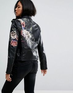 Blank NYC – Leather Look Jacket with Floral Detail – Black Order now at: mode. # coats # leather jackets - All About Painted Leather Jacket, Best Leather Jackets, Leather Coats, Fashion Online Shop, Studded Jacket, Vegan Leather Jacket, Painted Clothes, Painting Leather, Jackets For Women