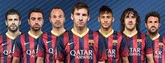 Esta es una foto del equipo de futbol FC Barcelona de Espana. Ellos son uno de los mejores equipos de clubes en el mundo, sobre todo porque Messi es en su equipo. El equipo se formo en 1899 y ha ganado la UEFA Liga de Campeones y la Copa Mundial de Clubes de la FIFA en muchos años