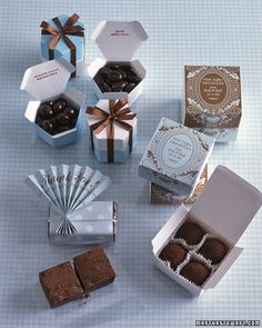 Homemade favors. Send guests home with boxes of your mom's brownies, along with her recipe, or fresh peaches tucked in hand-stamped bags. Low price tags, low fuss, high satisfaction.