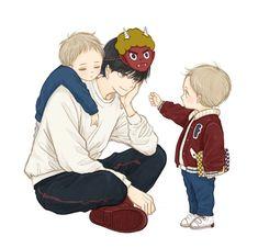 Anime Dad, Anime Child, Anime Love, Anime Guys, Manga Anime, Chibi, Character Art, Character Design, Anime Siblings
