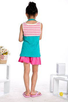 Free Shipping Kids Summer Clothing Little Girls Beach Suits Striped Tops + Solid Pants K0421