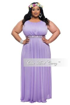 75bcb8ddef8 Final Sale Plus Size Sleeveless Long Dress with Jeweled Waistline in  Lavender
