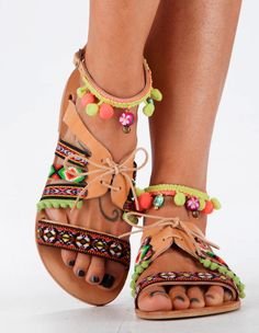 Leather Sandals Handmade Sandals Mexican Style by DimitrasWorkshop