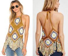 Aprendiendo a hacer Tops de grannys ¡¡ super sexys !! | Grannysquare.eu Crochet Shirt, Crochet Crop Top, Crochet Bikini, Knit Crochet, Crochet House, Crochet Summer Tops, Beach Crochet, Beach Tops, Crochet Slippers