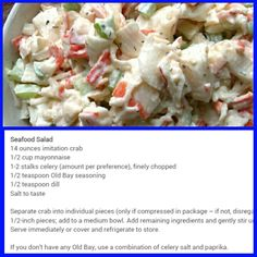 Sea food salad , either use imatation crab or lobster meat
