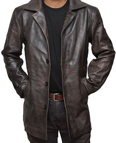 Brown Distressed Supernatural Real Leather Jacket (XS, Antique Brown)