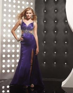 High Quality Satin Split Front Beaded Prom Gown
