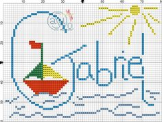 CaSuLo by CarlaSB: Gabriel e Dinis Embroidery Patterns, Cross Stitch Patterns, Cross Stitch For Kids, Name Art, Pattern Art, Needlework, Diy And Crafts, Image, Cross Stitch Angels