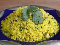 Saffron Couscous, a savory side dish with lemon, chickpeas, pine nuts ...