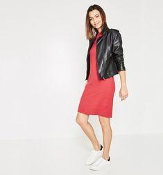Női dzsörzé ruha sötétpiros mintás - Promod