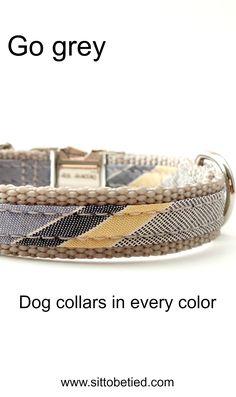 Grey striped dog collar. For the stylish male dog,