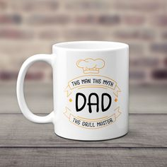 """When it comes to Father's Day gifts, this funny coffee mug for dad tops the list. Our """"The Man The Myth The Grill Master"""" mug is a great way to get him to laugh. It's absolutely perfect for birthdays, holidays, or any other occasion, too. Any time is the right time to show him how much you care. Add some lighthearted humor to the breakfast table with Our """"The Man The Myth The Grill Master"""" mug. Order now and celebrate your favorite barbecue legend! Personalized Gifts For Dad, Grilling Gifts, Grill Master, Funny Coffee Mugs, Dad Birthday, Best Dad, Morning Coffee, Gifts In A Mug, Fathers Day Gifts"""