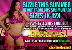 plus size lace bikini, swimwear, and plus size lingerie, sizes 1X to 12X